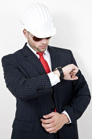 stipt: punctueel architect op geïsoleerde achtergrond Stockfoto