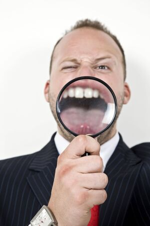 investigators: magnified mouth of male  Stock Photo