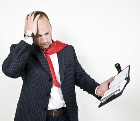 businessman in tension with folder