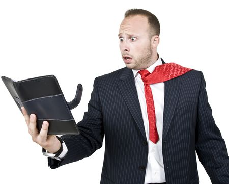 businessman in shock on isolated background  Stock Photo