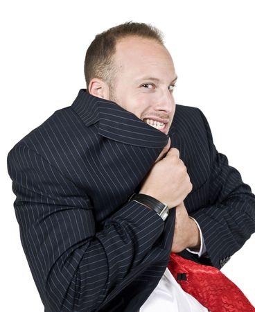 trembling man on isolated background  photo