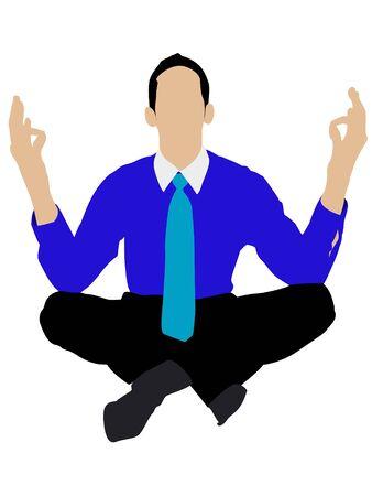 man doing yoga on isolated background photo