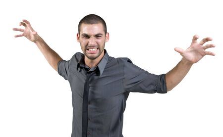 irritated: irritated man in studio Stock Photo