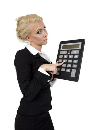 businesswoman with calculator on white background