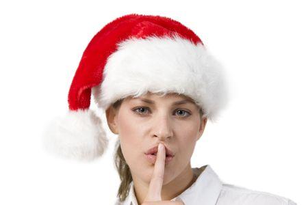shushing: santa woman shushing on white background