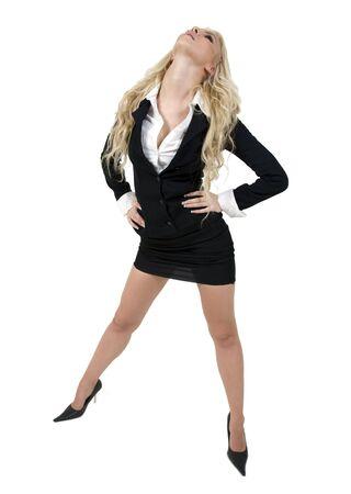 stylish pose of beautiful woman on isolated background Stock Photo