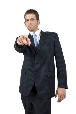 pointing businesman on isolated background photo