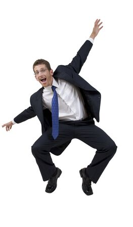 businessman dancing on white background photo