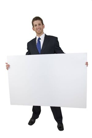 young businessman with white board on white background photo