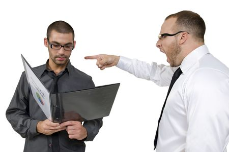 employee getting scolded from his senior on white background