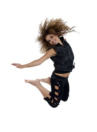 young female jumping high on isolated studio picture Stock Photo - 3596431