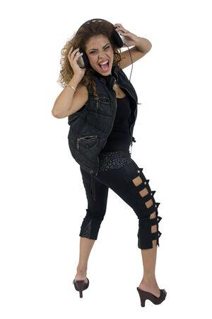 lady enjoying music with headphone against white background Stock Photo - 3596523