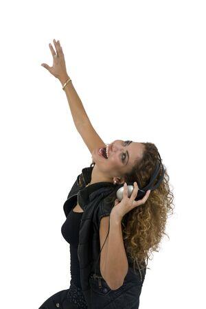 posing female with headphone against white background photo
