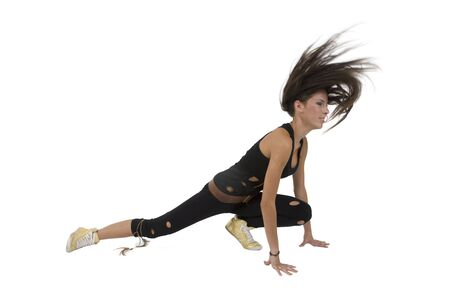 exercising pretty model on isolated studio picture