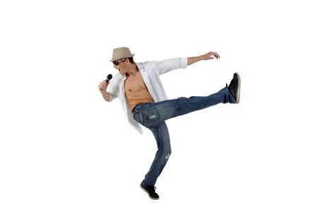 male entertainer with microphone on isolated studio picture Stock Photo