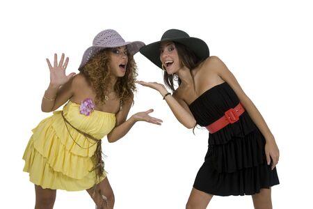 fashion models with hat isolated on white background photo