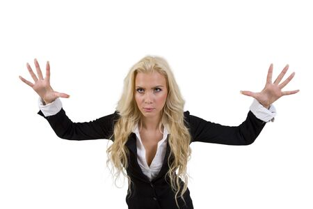 scary businesswoman on isolated background Stock Photo