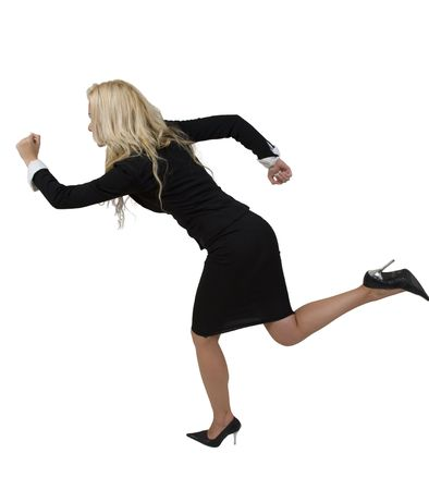 businesswoman running on isloated white background Stock Photo