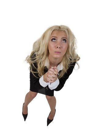pity: pity lady on isolated background Stock Photo