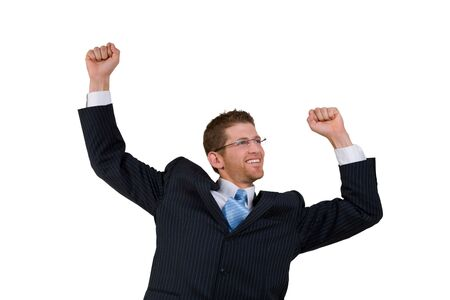 excited businessman on isolated background
