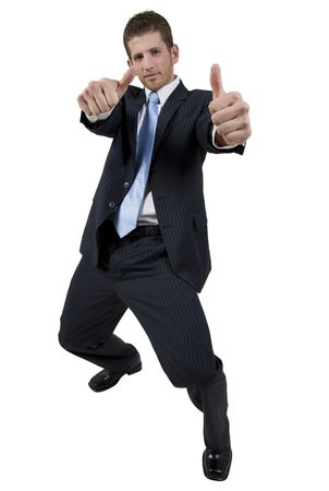 goodluck: male showing good-luck symbol on isolated background Stock Photo