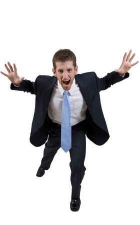 screaming businessman on isolated background Stock Photo