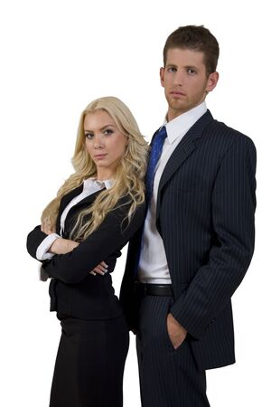 business duo on isolated background Stock Photo