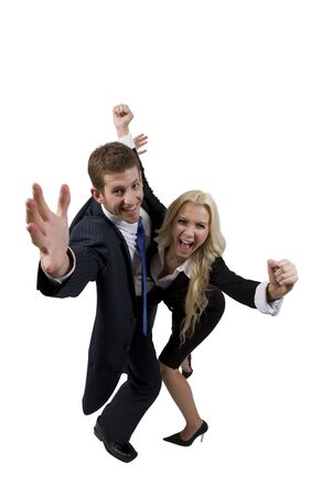 shouting business couple on isolated background