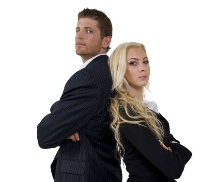 business couple on isolated background