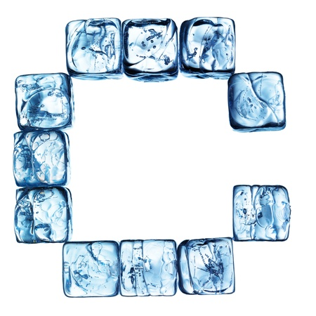 letter of alphabet made drom ice cubes Stock Photo