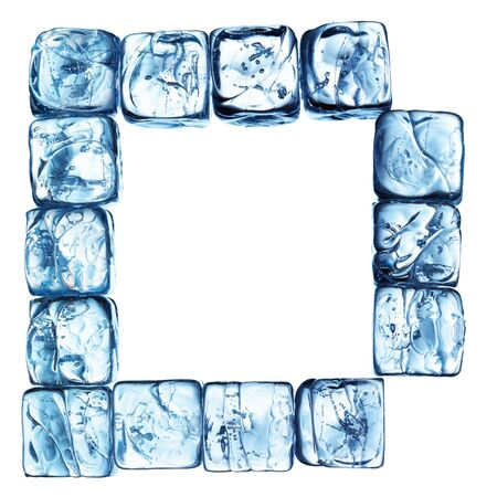 letter of alphabet made drom ice cubes photo