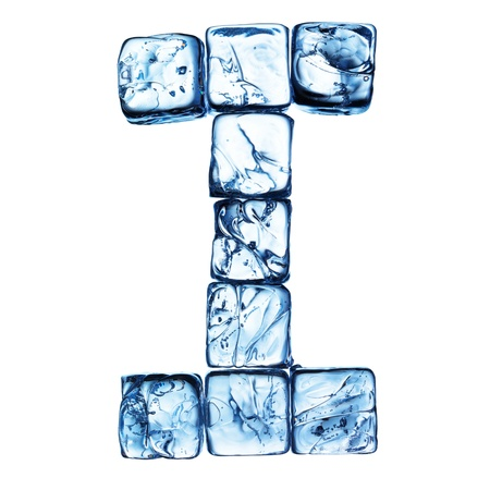 ice alphabet: letter of alphabet made drom ice cubes Stock Photo