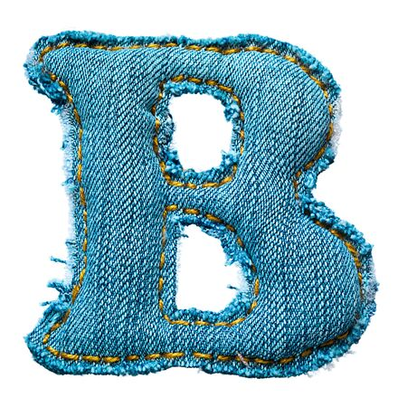 torn jeans: Handmade letter of jeans alphabet on white