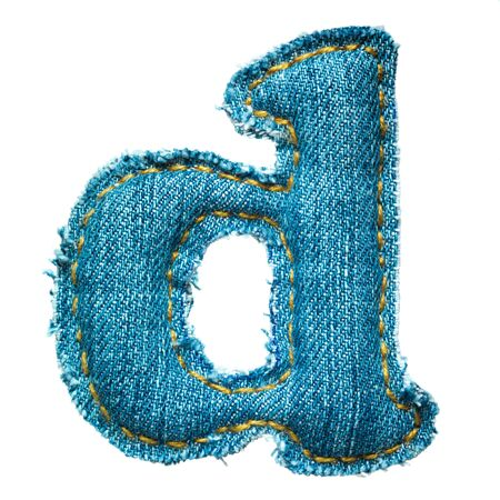 Handmade lowercase letter of jeans alphabet on white