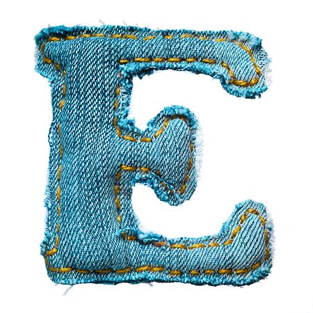 Handmade letter of jeans alphabet on white photo