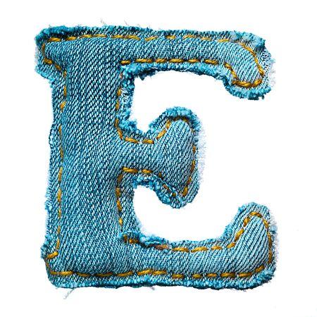 Handmade letter of jeans alphabet on white Stok Fotoğraf - 9822719