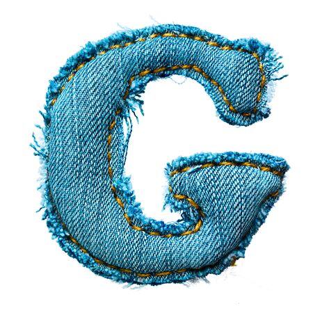 Handmade letter of jeans alphabet on white Stock Photo - 9822711