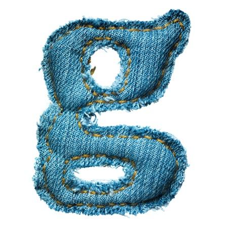 Handmade lowercase letter of jeans alphabet on white Stock Photo - 9822708