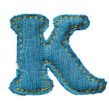 Handmade letter of jeans alphabet on white Stock Photo - 9822612