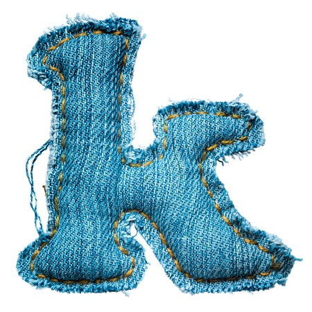 lowercase: Handmade lowercase letter of jeans alphabet on white