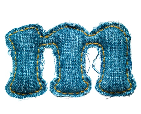 torn jeans: Handmade lowercase letter of jeans alphabet on white