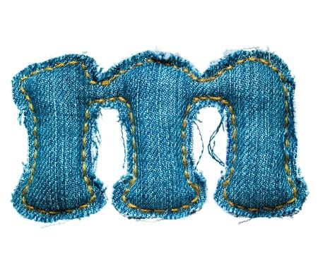 lowercase: Handmade lowercase letter of jeans alphabet on white