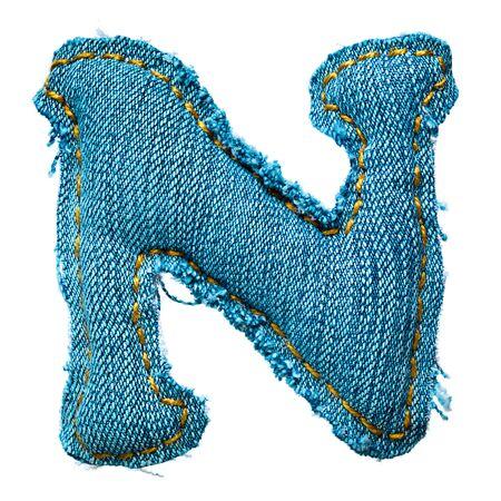 Handmade letter of jeans alphabet on white Stock Photo - 9822638