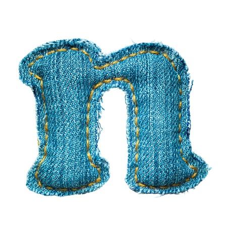 Handmade lowercase letter of jeans alphabet on white Stock Photo - 9822728