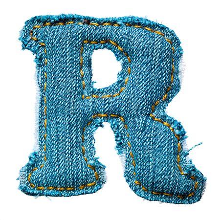 Handmade letter of jeans alphabet on white Stock Photo - 9822608