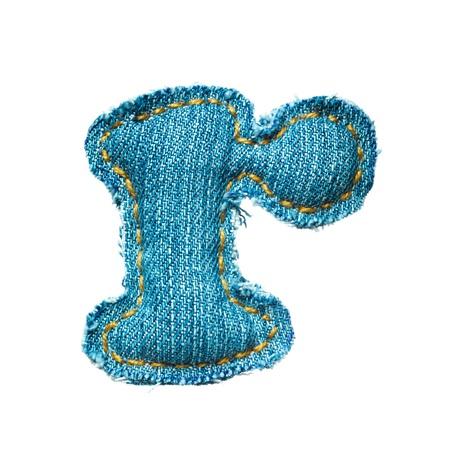 Handmade lowercase letter of jeans alphabet on white Stock Photo - 9822793