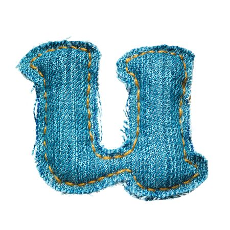 Handmade lowercase letter of jeans alphabet on white photo