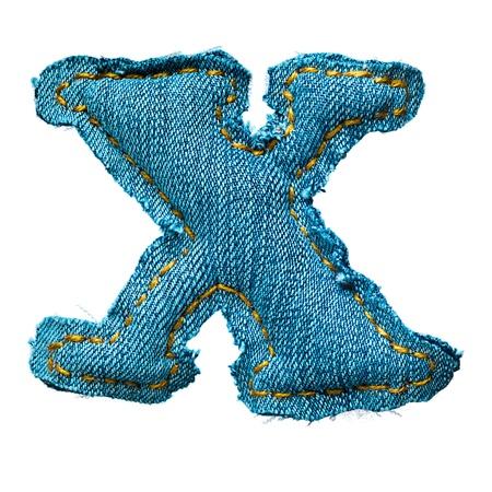 Handmade letter of jeans alphabet on white Stock Photo - 9822636