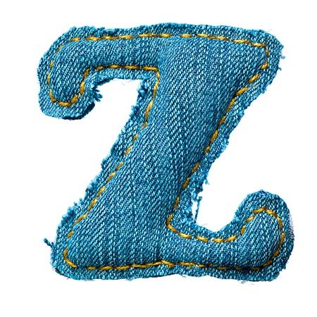 Handmade letter of jeans alphabet on white photo