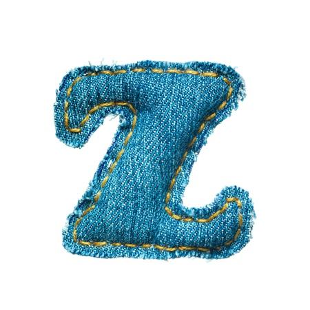 Handmade lowercase letter of jeans alphabet on white photo